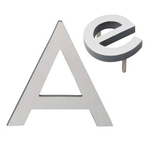 """10"""" Individual Gray Satin Nickel Two-Tone Modern Floating Letters A-Z"""